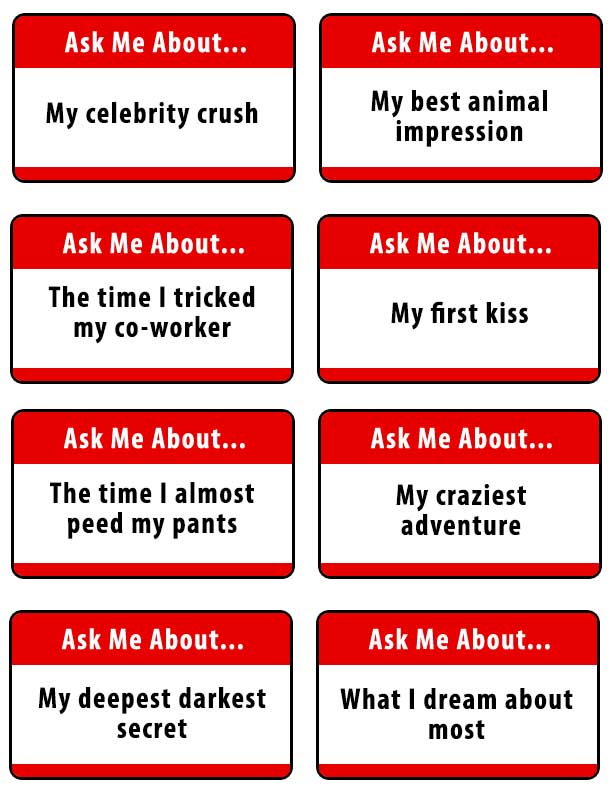 Ice breaker games - ask me about...